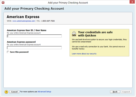 quicken for mac 2014 will not accept my intuit id